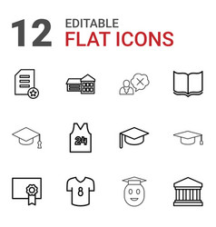 12 college icons vector