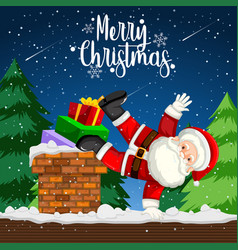 a santa dancing on the roof vector image