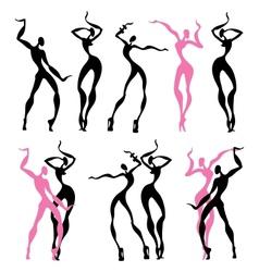 Abstract dancing figures vector