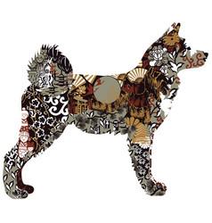 akita dog in japanese ornament vector image