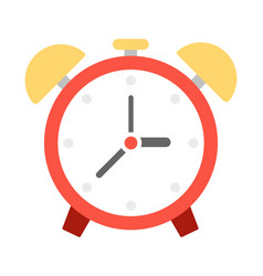 alarm clock with bells icon flat isolated vector image