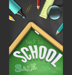 back to school sale concept with school supplies vector image