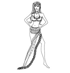 Belly dancer hand drawn vector image