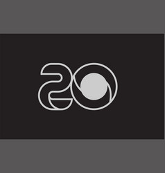 Black and white number 20 logo icon design vector