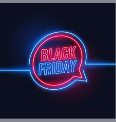 black friday neon style lights background design vector image