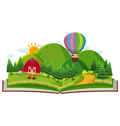 book with children in the farm vector image