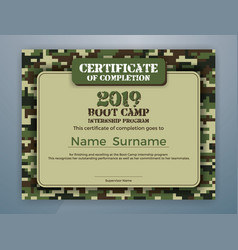Boot camp internship program certificate template vector