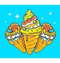 Bright three ice creams on blue backgroun vector