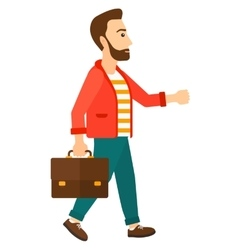 Businessman walking with briefcase vector image