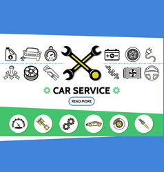 Car service line icons set vector