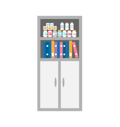 chest of drawers bookcase with medicaments icon vector image
