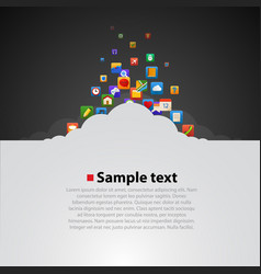 Cloud with application items vector