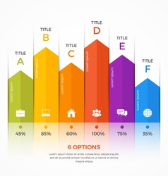 column chart infographic template 6 options vector image