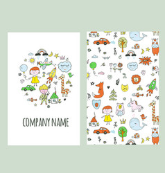 company card - design for kids with icons and vector image