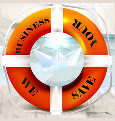 conceptual business background with lifebuoy vector image