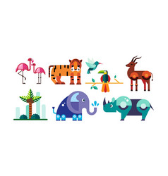 cute polygonal african animals set flamingo vector image