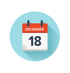 December 18 flat daily calendar icon date vector