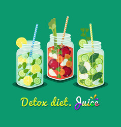 detox diet poster mug set vector image