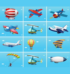 different types of aircrafts vector image