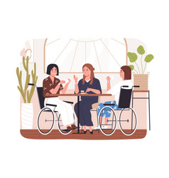 Disabled people in cafe concept wheelchair vector