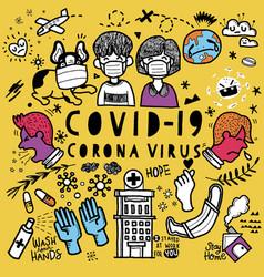 Doodle cute for covid-19 corona virus vector
