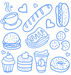 Doodle of fast food style collection vector