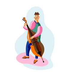 Double bass player cartoon character vector