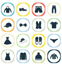 dress icons set with baseball cap shorts hoodie vector image