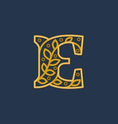 Elegant linear letter e initial ornate logotype vector