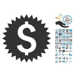 Financial Seal Icon With 2017 Year Bonus Symbols vector