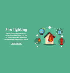 fire fighting banner horizontal concept vector image