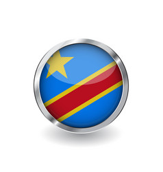 flag of democratic republic of the congo button vector image