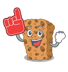 Foam finger granola bar mascot cartoon vector