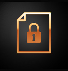 Gold document and lock icon isolated on black vector