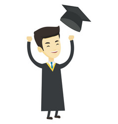 Graduate throwing up graduation hat vector
