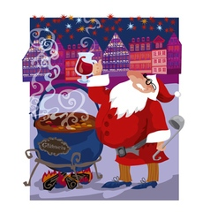 Greeting curd of santa mulled wine vector