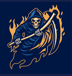 Grim reaper mascot with with sickle vector