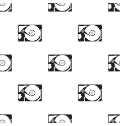Hard disk icon in black style isolated on white vector image