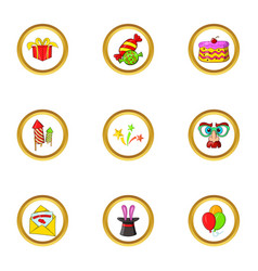 Holiday icon set cartoon style vector