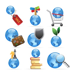 Icons for global concepts vector image