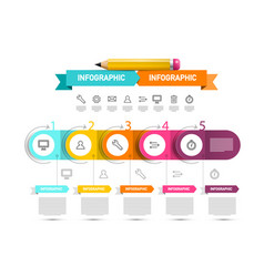 infographics design with icons and paper labels vector image
