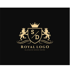 Initial sd letter lion royal luxury heraldiccrest vector