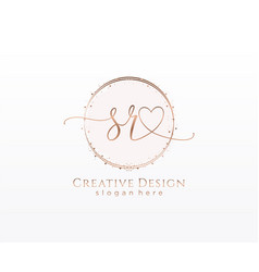 Initial sr handwriting logo with circle template vector