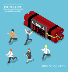 Isometric businessman run away from business vector
