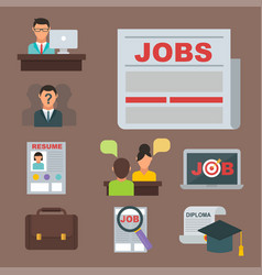 Job search icon set computer office concept vector