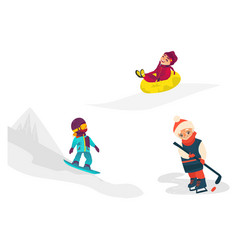 Kids children doing winter sport activities vector