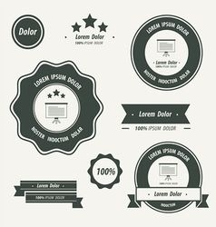Label And Ribbon black color vector image