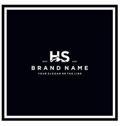 Letter hs mountain logo design vector