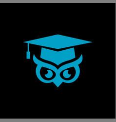 logo a bachelor hat and owl eye vector image