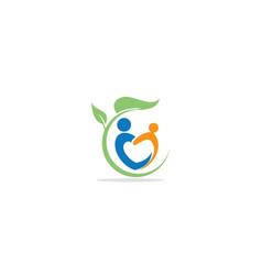 love people health eco organic leaf logo vector image